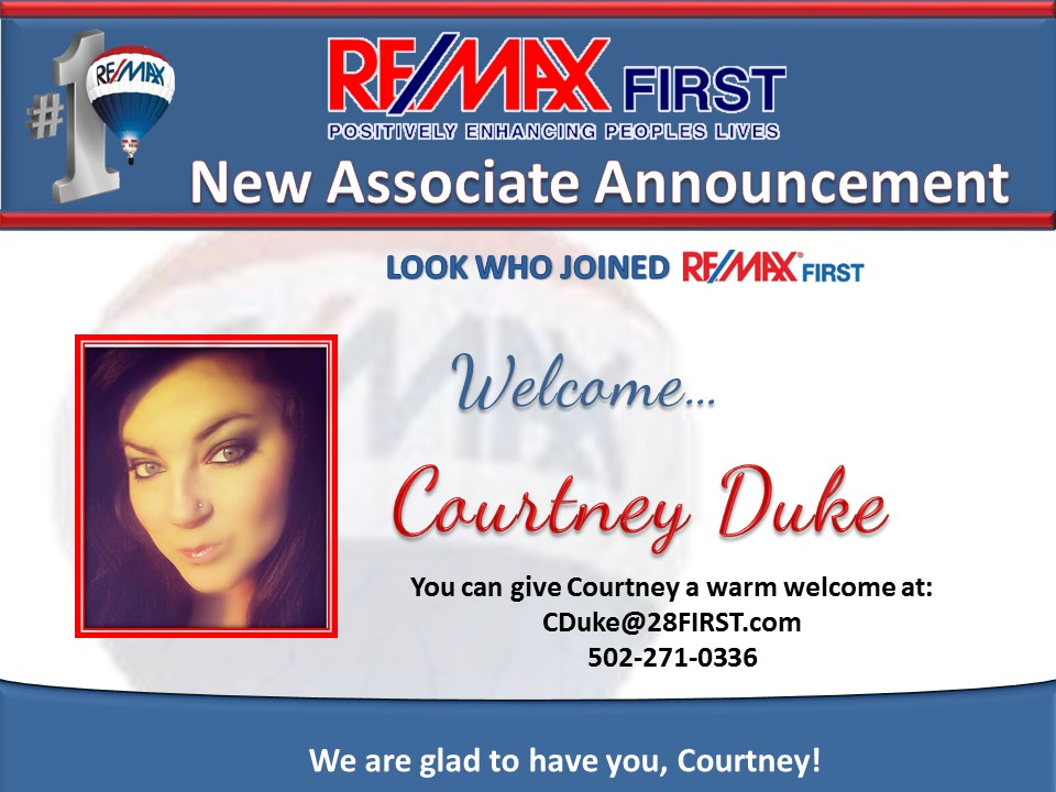 Welcome Courtney Duke to RE/MAX FIRST