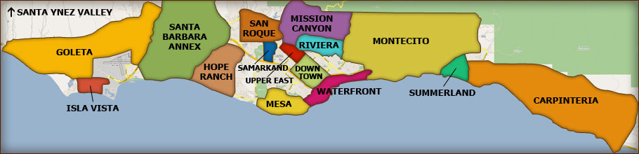 Map of Santa Barbara with Some Neighborhoods Marked