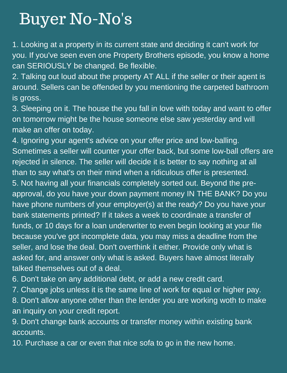 list of buyer no-no's