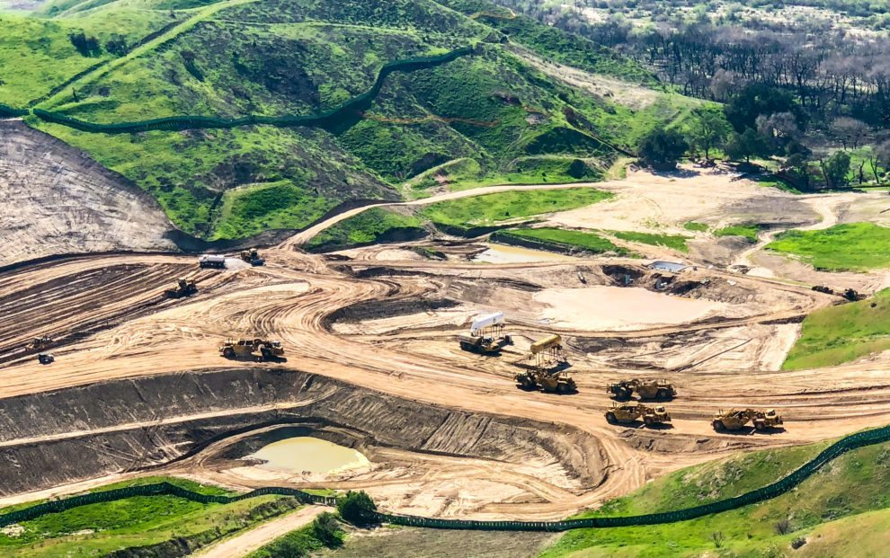 aerial of graders leveling newhall ranch's first phase of development