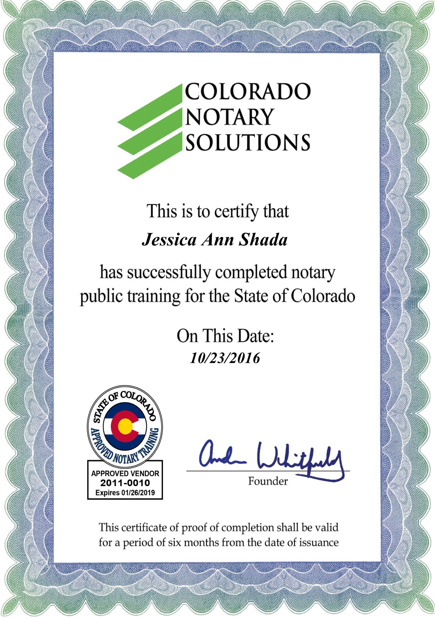 Notary public state of colorado jessica shada education certificate xflitez Gallery