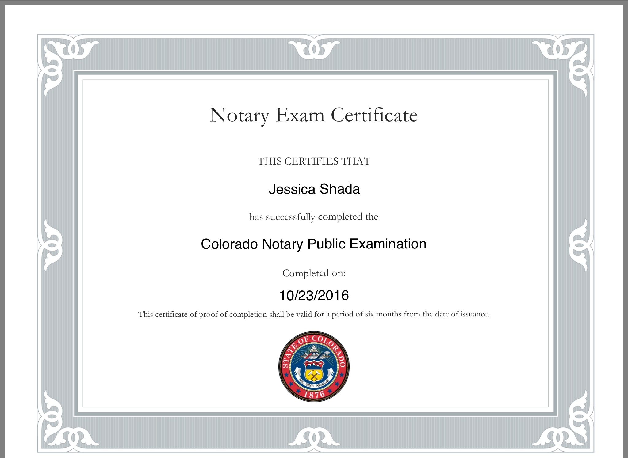Notary public state of colorado jessica shada certification from the secretary of state xflitez Gallery
