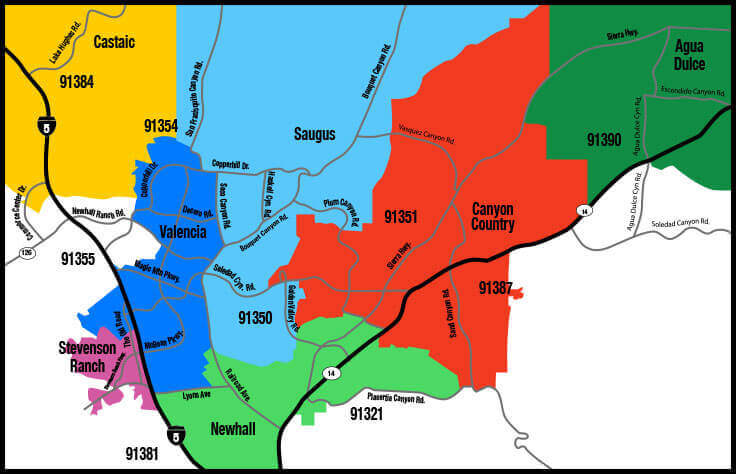 map of santa clarita with city boundaries and zip codes