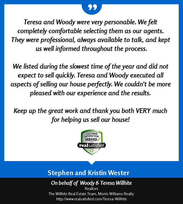 Woody & Teresa Willhite Recommendations – Stephen & Kristin Wester