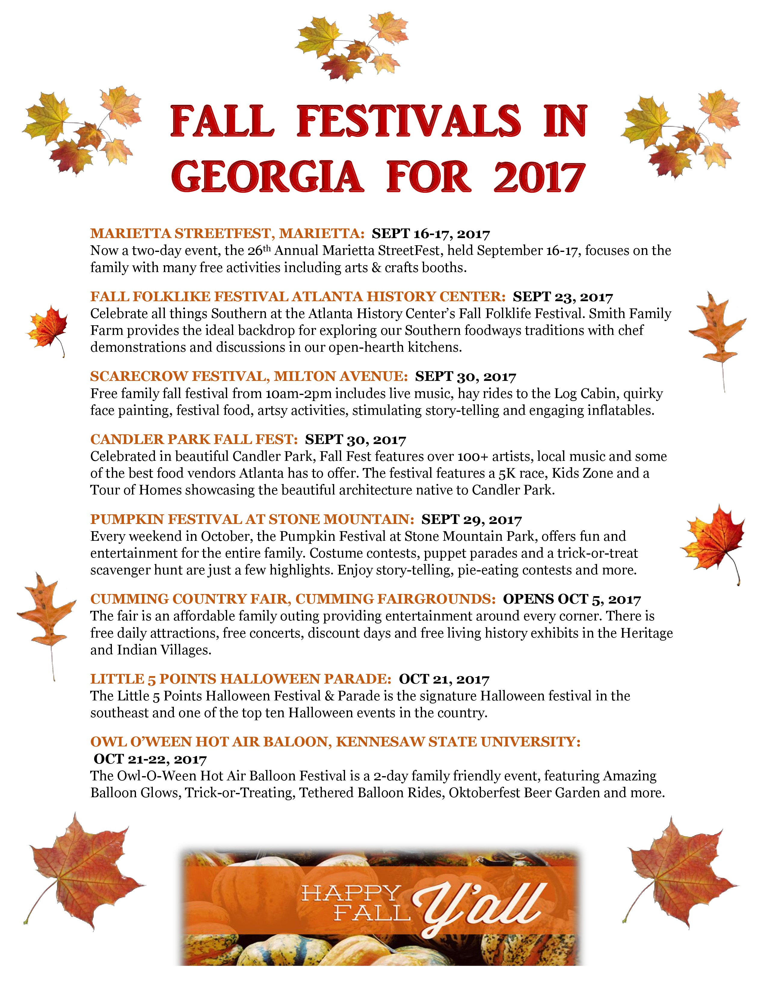 Fall Festivals In Georgia
