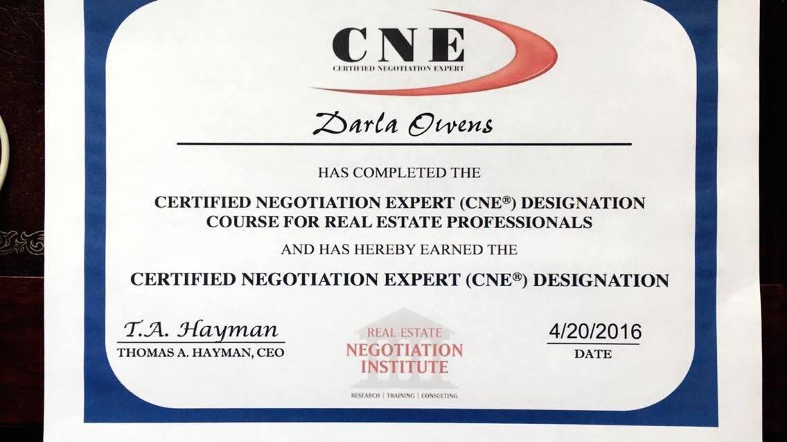 Certified Negotiation Expert (CNE) Designation - DARLA J OWENS ...