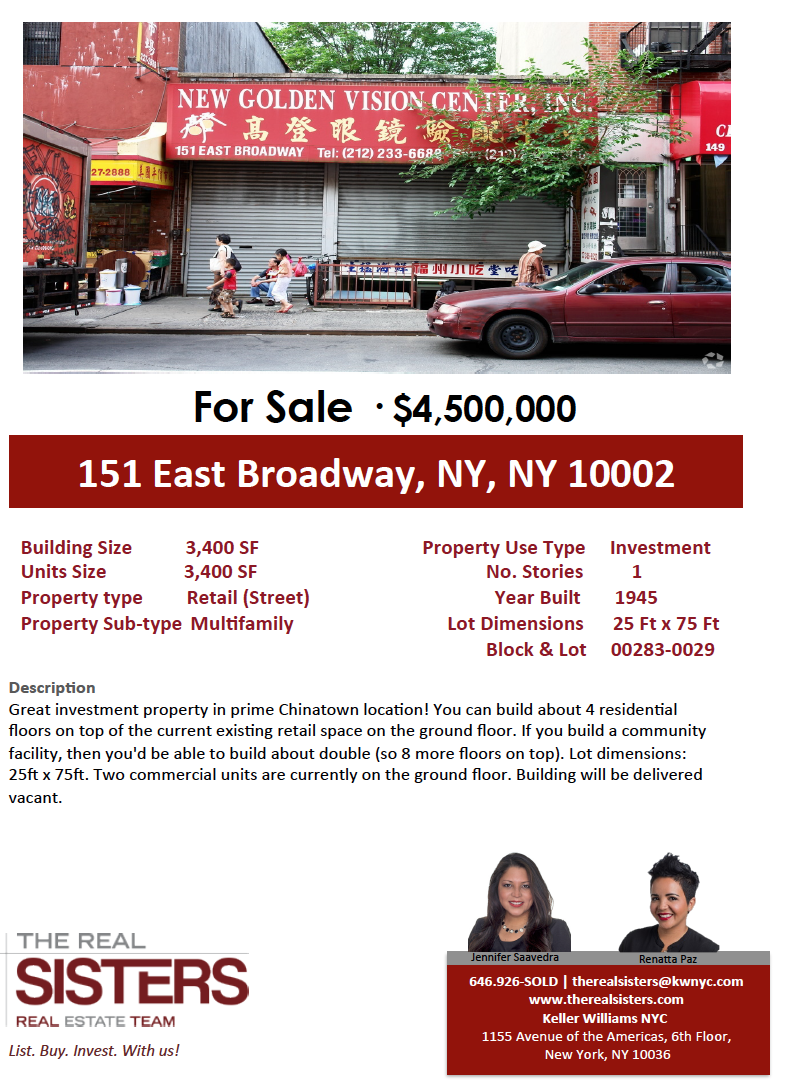 Retail Condo for Sale in Chinatown/ Two Bridges Location!
