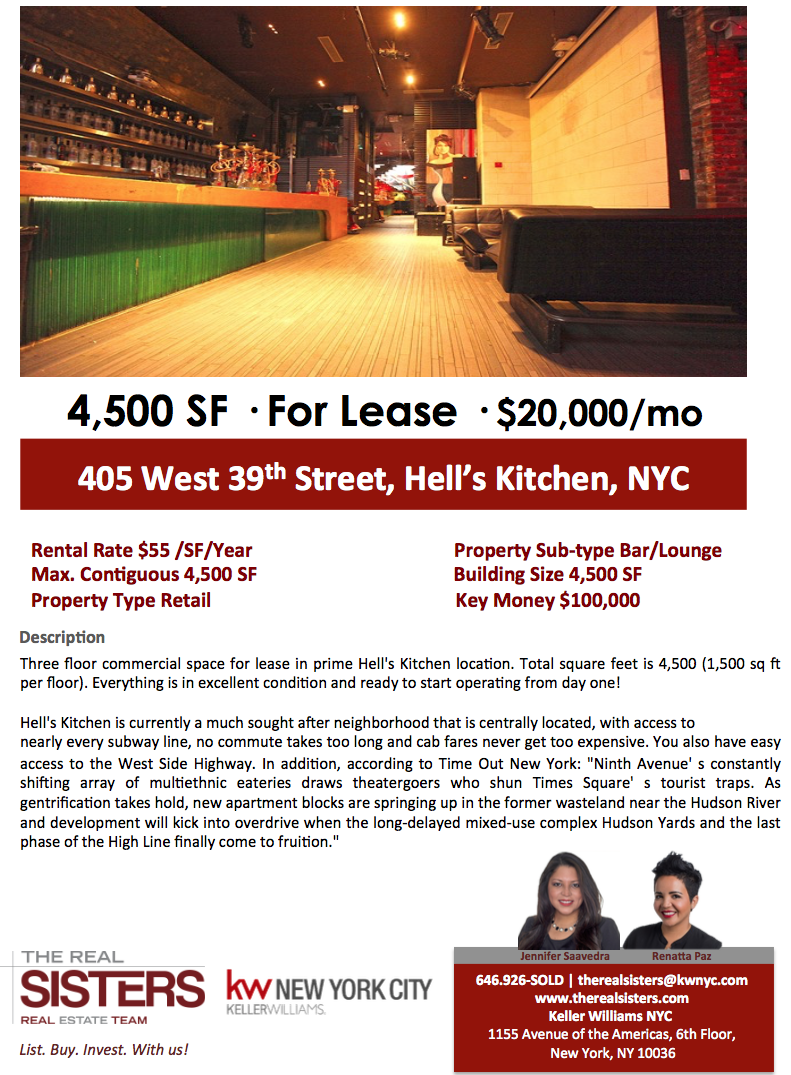 Hell\'s Kitchen Commerical Space for Lease