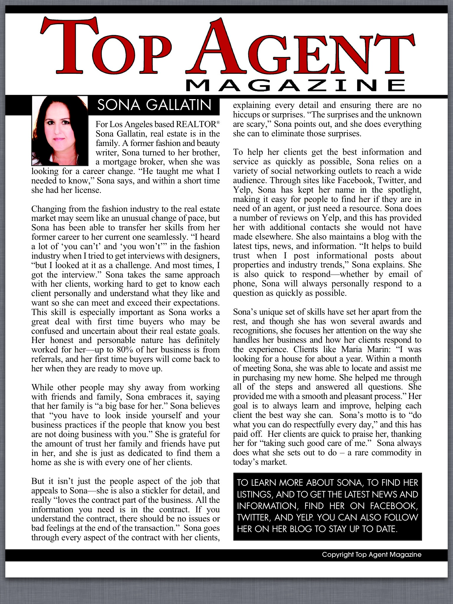 Sona Gallatin's Top Realtor Profile from 2013