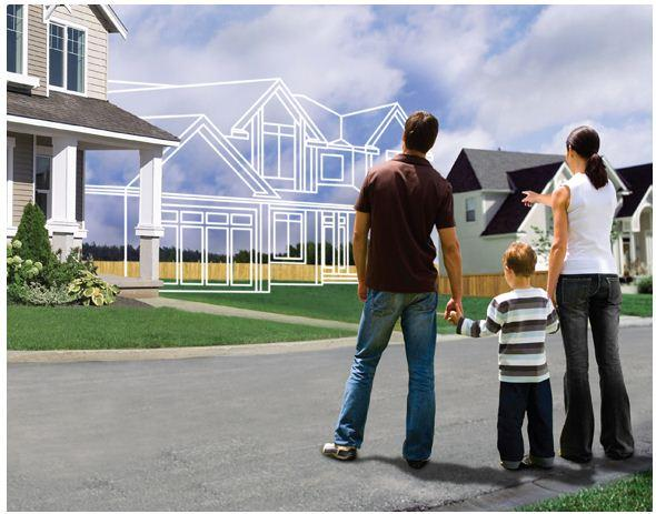 family looking at a home image