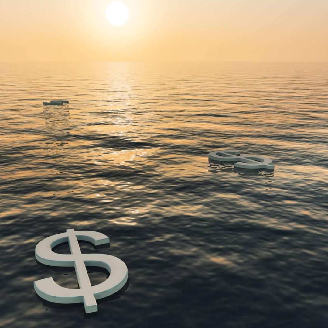 money symbols in the ocean