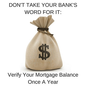 Verify Your Mortgage payoff yearly