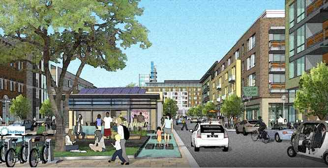 concept drawing of a typical street in newhall's landmark village-newhall ranch