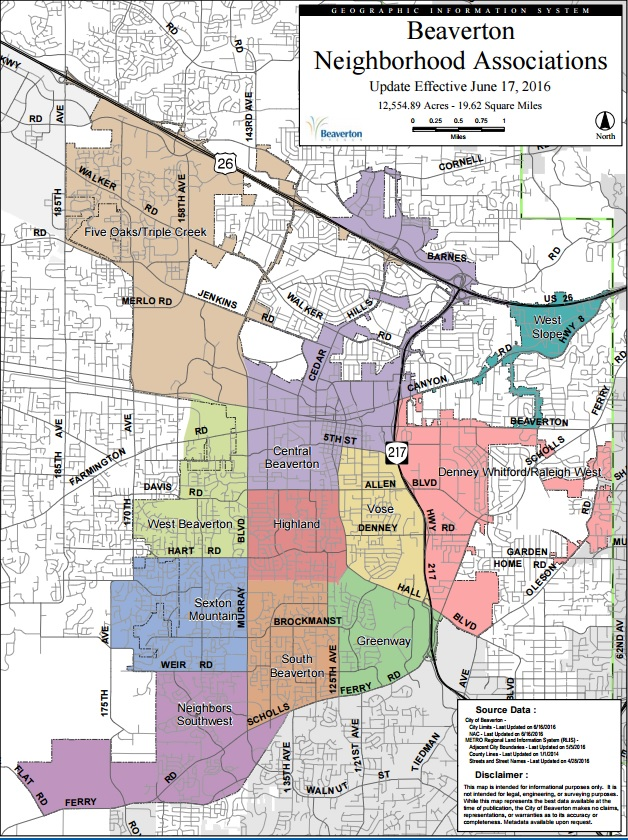 Beaverton Neighborhood Map