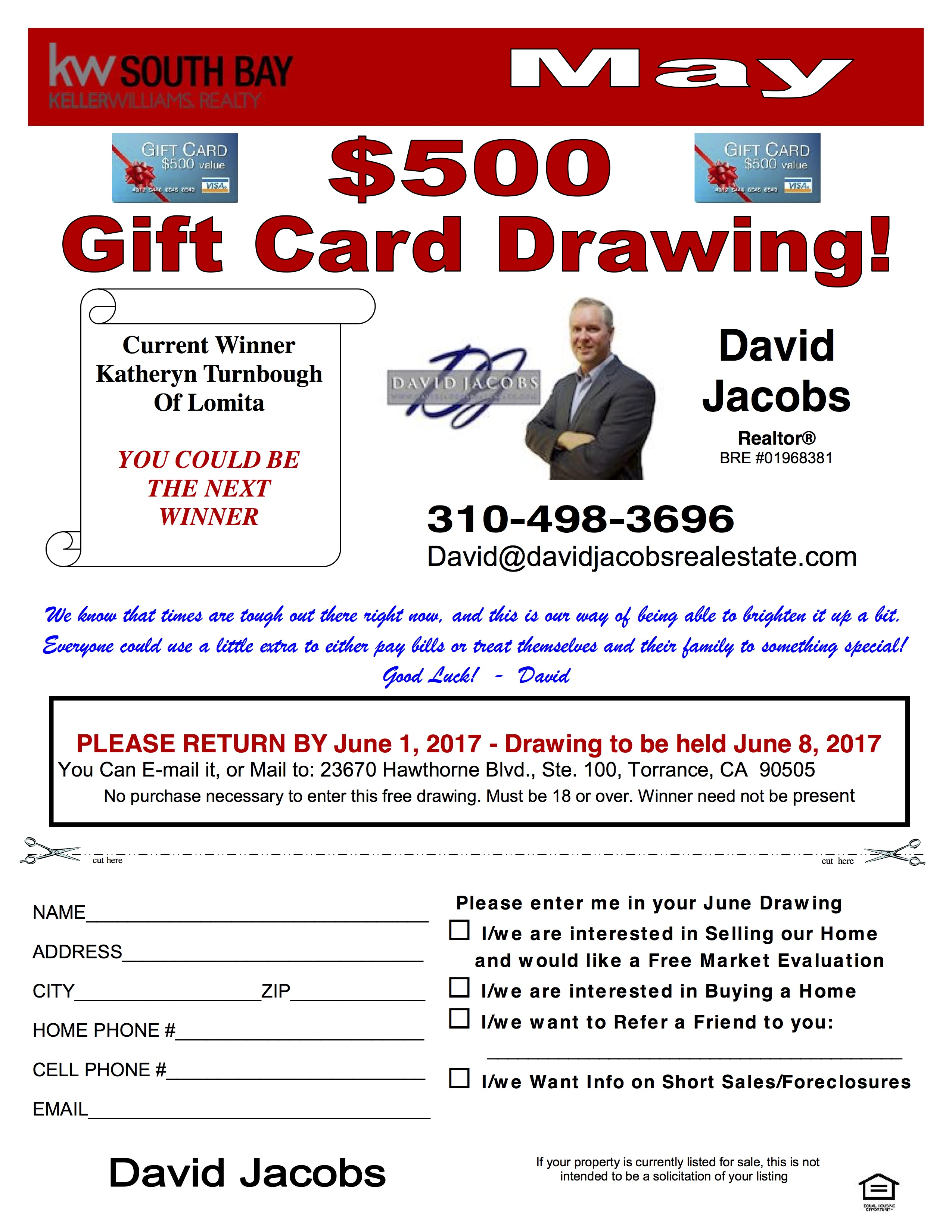 Gift Card Drawing David Jacobs Real Estate