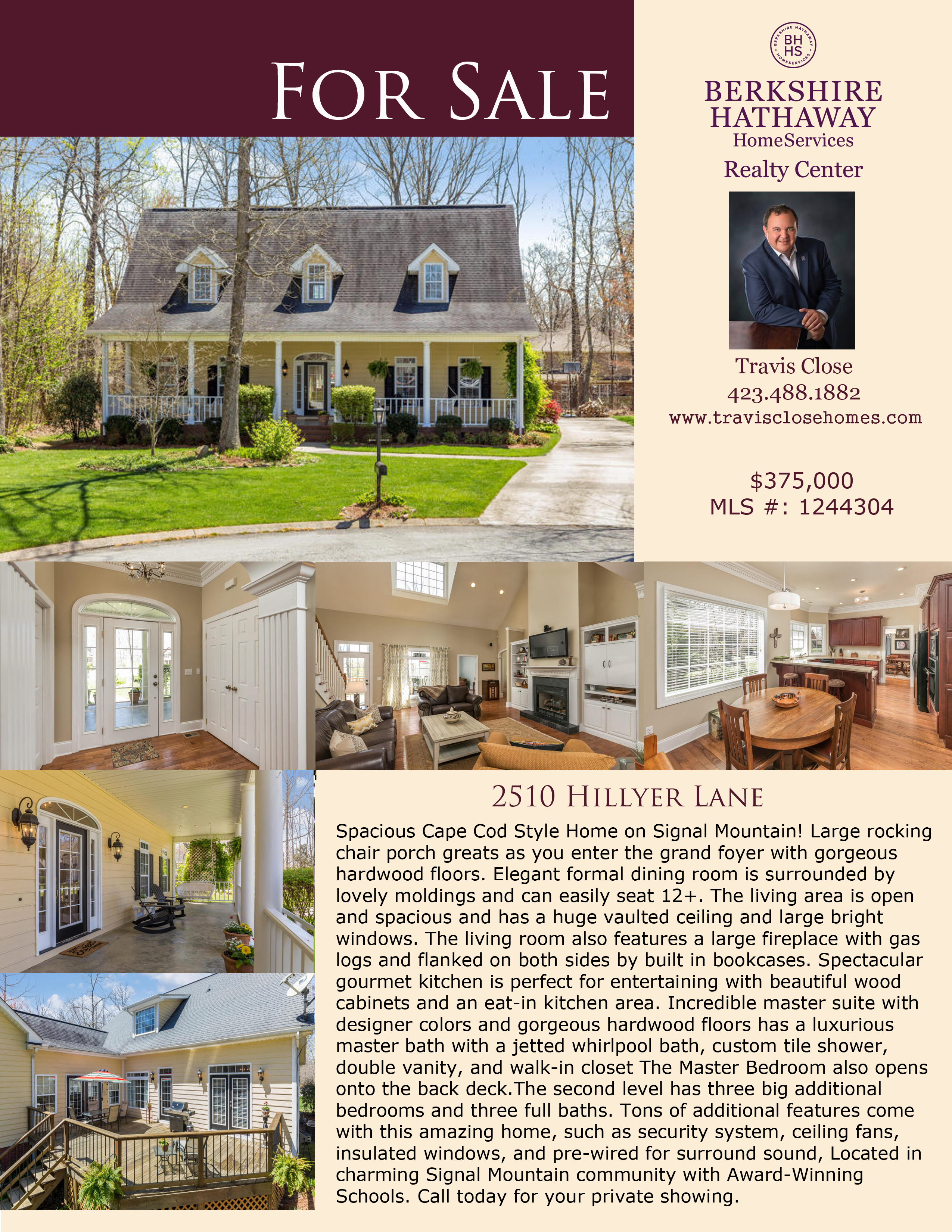 Spacious Cape Cod Style Home On Signal Mountain! Large Rocking Chair Porch  Greats As You Enter The Grand Foyer With Gorgeous Hardwood Floors.