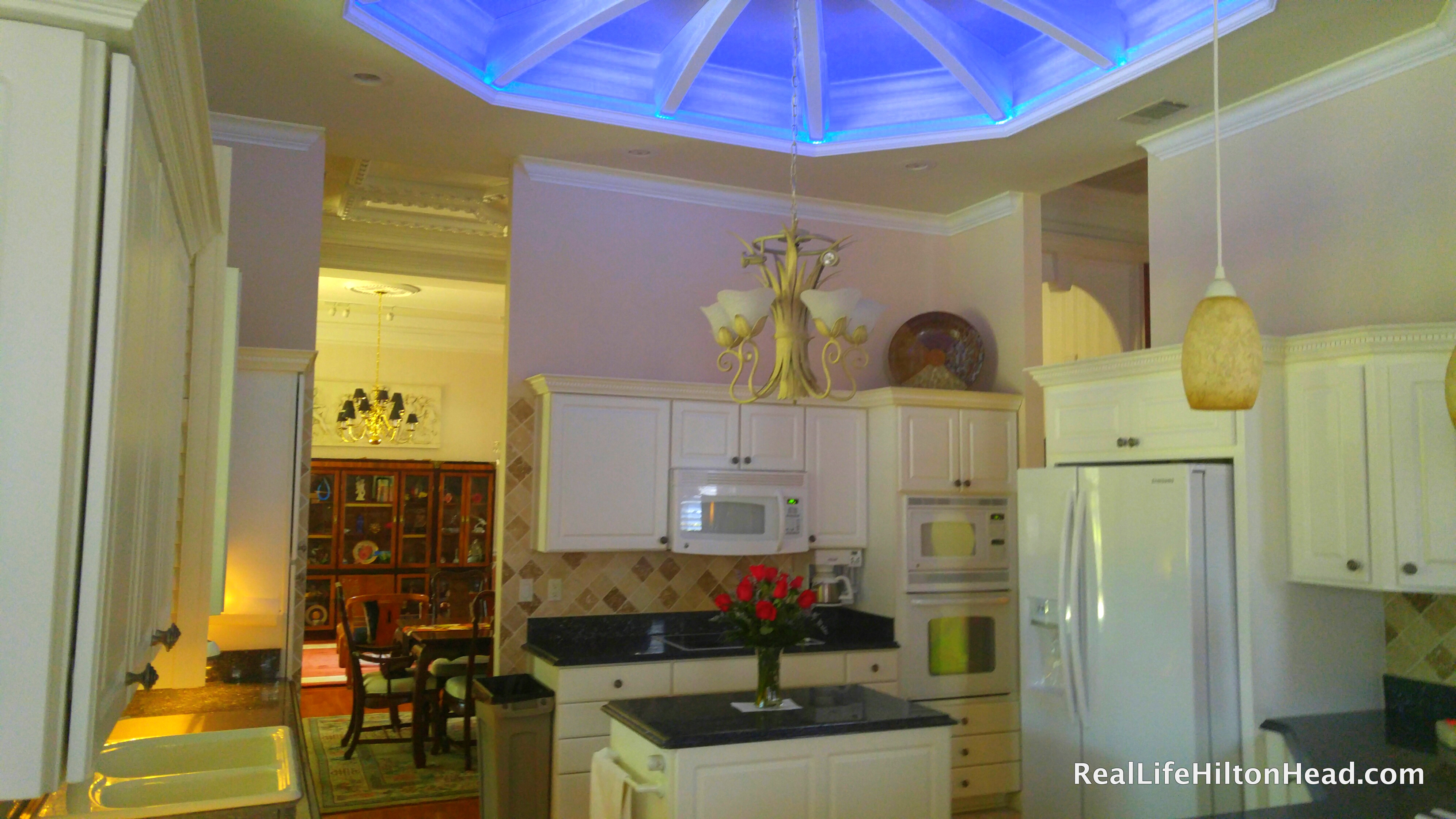 The led indirect lighted tray ceiling i have to have this amazing when you walk into this upgraded kitchen you notice my fav the tray ceiling and then the lighting changes its like magic it goes from mozeypictures Image collections