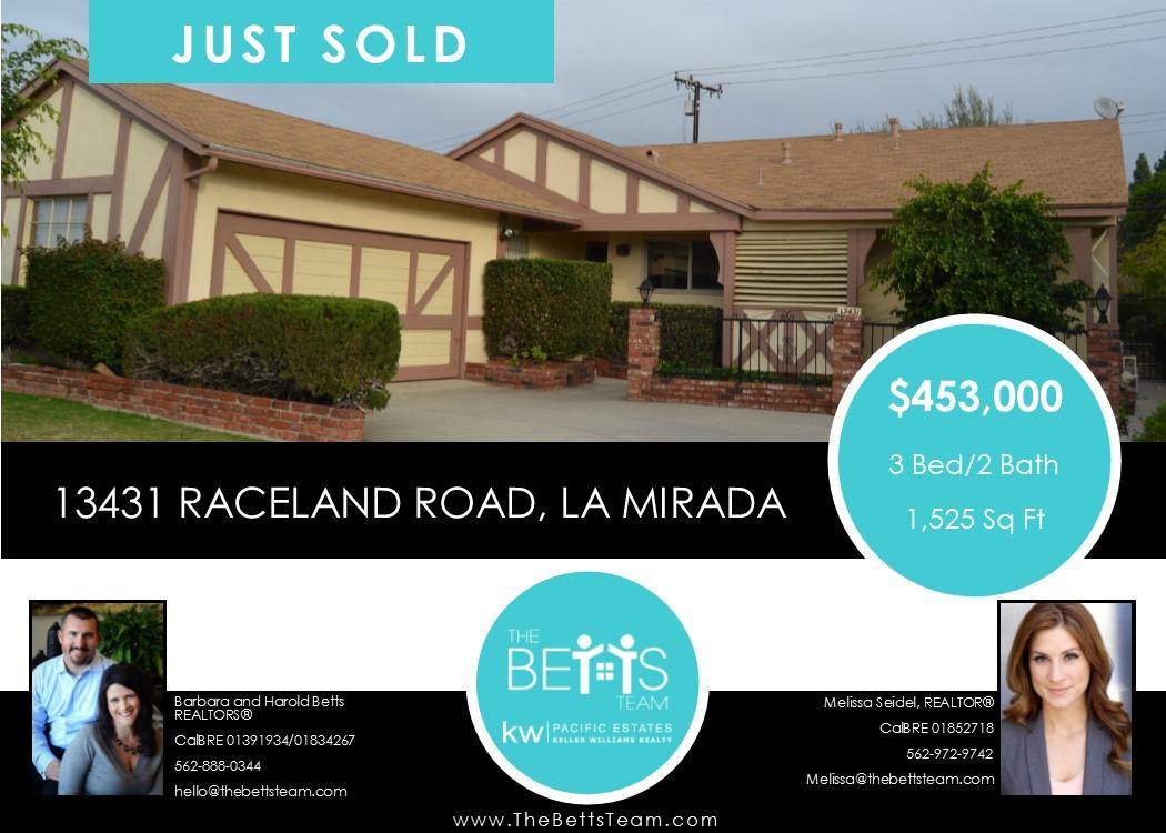 JUST SOLD!!! 13431 Raceland Road, La Mirada
