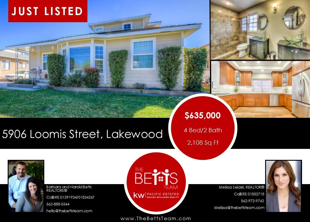 JUST LISTED!!! 5906 Loomis Street, Lakewood