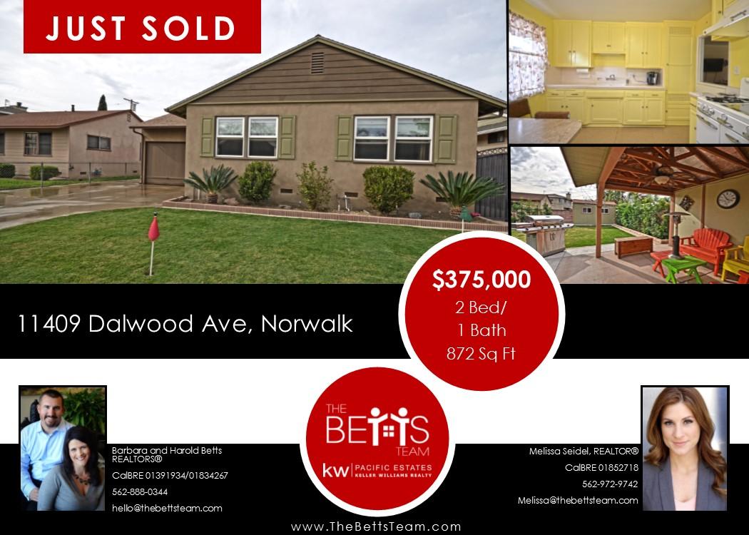 JUST SOLD!!!  11409 Dalwood Avenue, Norwalk