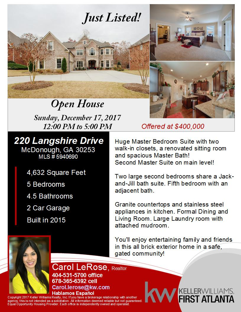 Just Listed Langshire Drive McDonough GA - Keller williams open house flyer template