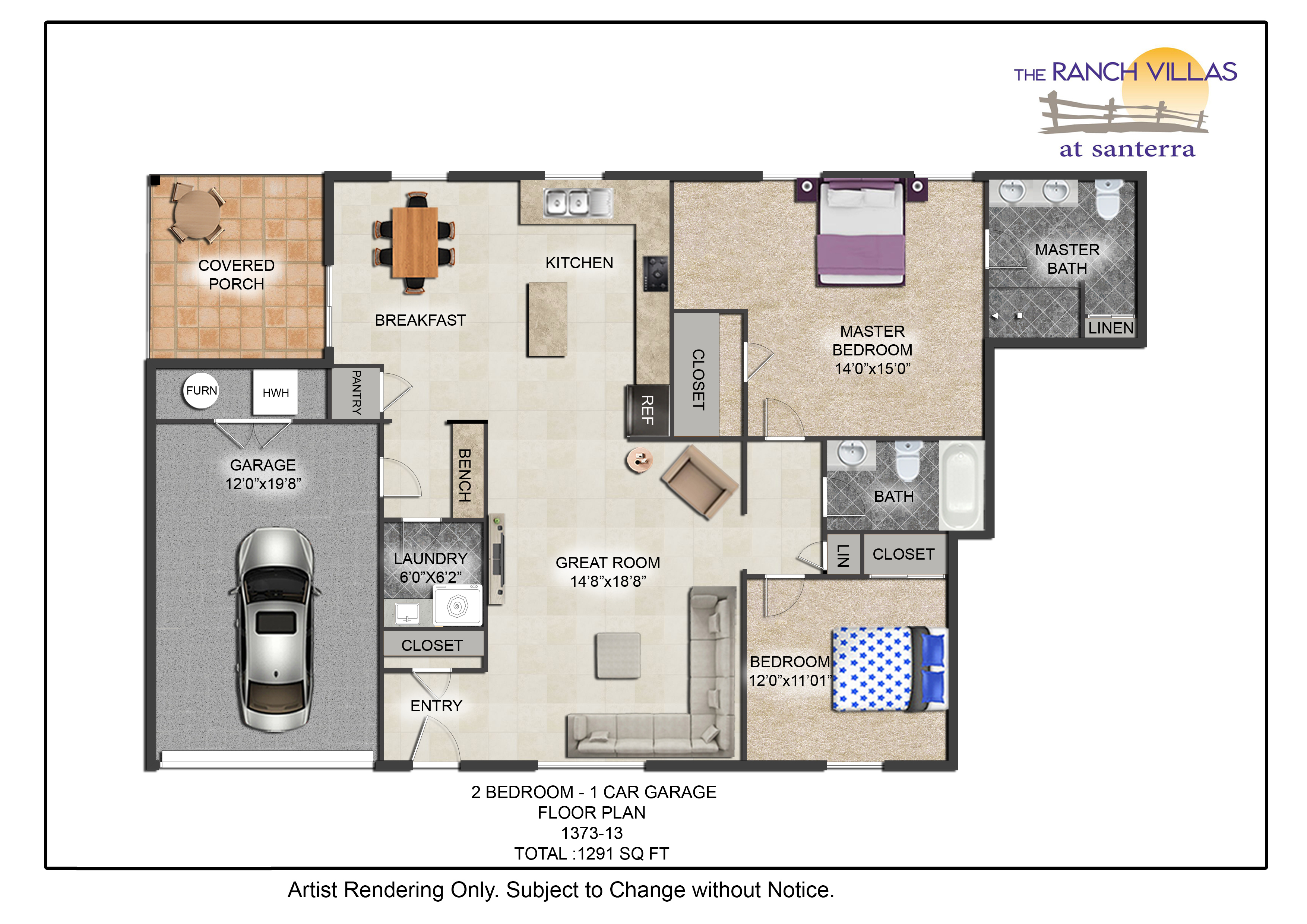 Car Garage Floor Plan: 2 Bedroom 1 Car Garage
