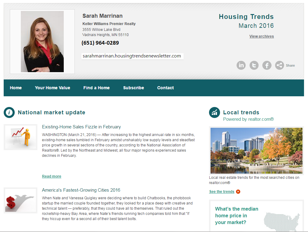 Housing Trends Newsletter - March 2016