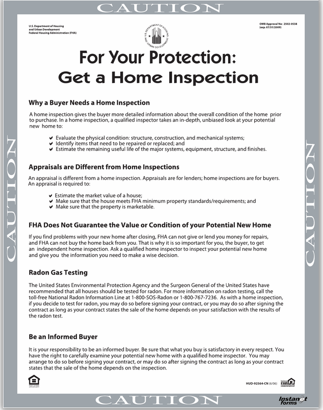 For your protection, get a home inspection!