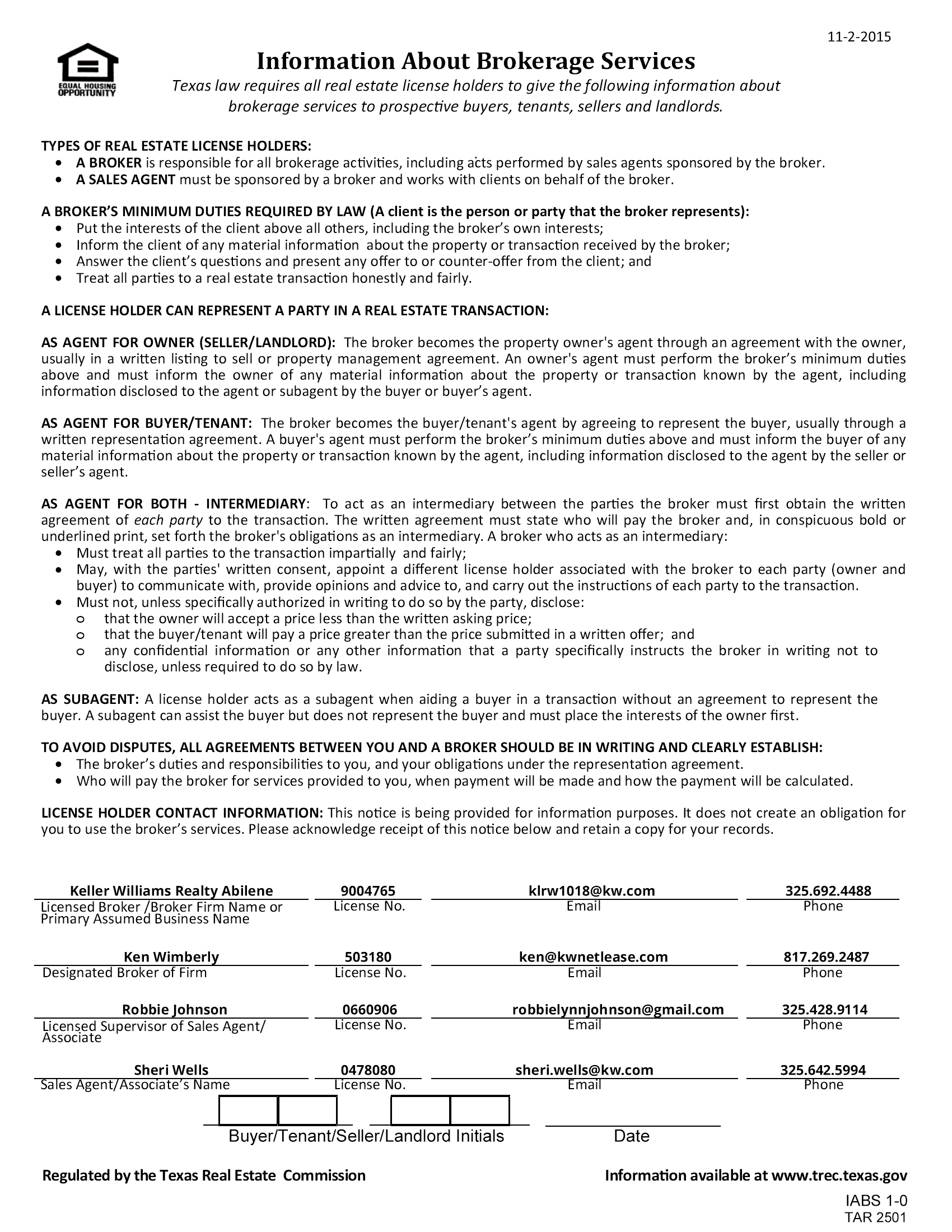 TREC Information About Brokerage ServicesThe Wells Team
