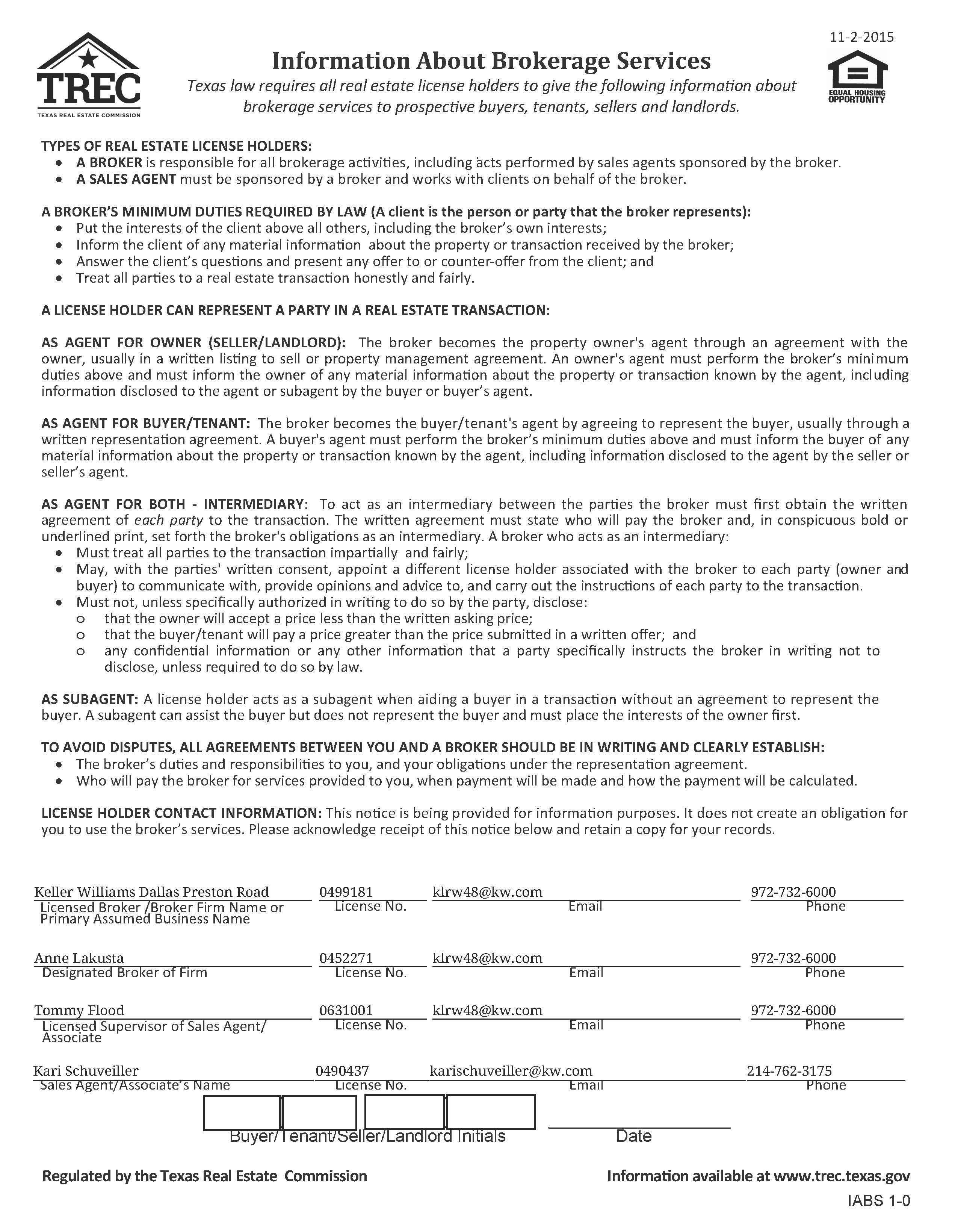 Texas Real Estate Commission Information About Broker Services