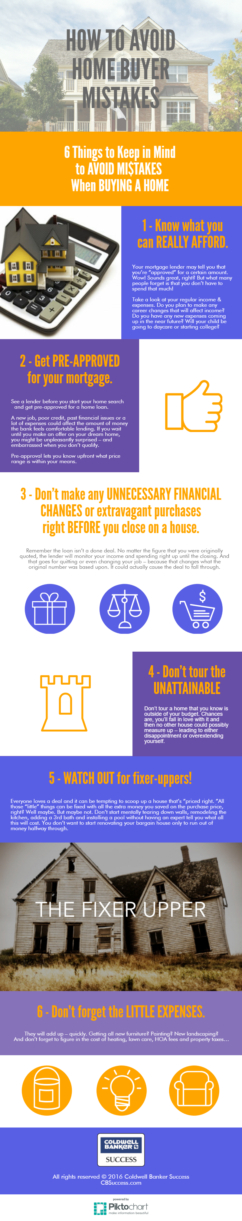 6 Things to keep in mind to avoid mistakes when buying a home.