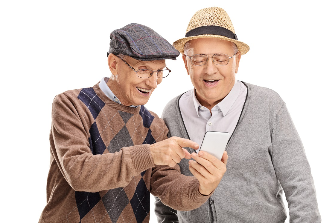 2 Senior Males Looking at Cell Phone