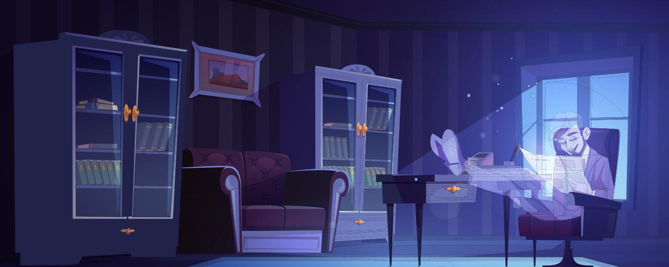 ghost dad reading in den