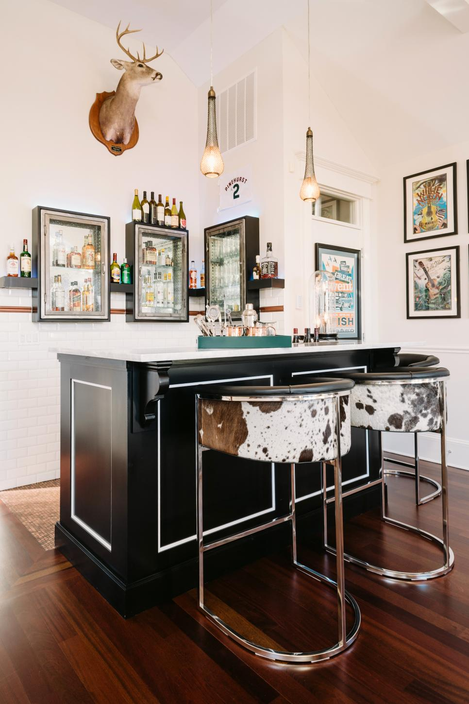Vintage Medicine Cabinets With Glass Panes House The Goods Behind Bar Mounted Deer Head Lends A Rustic Wild West Feel To Inspired