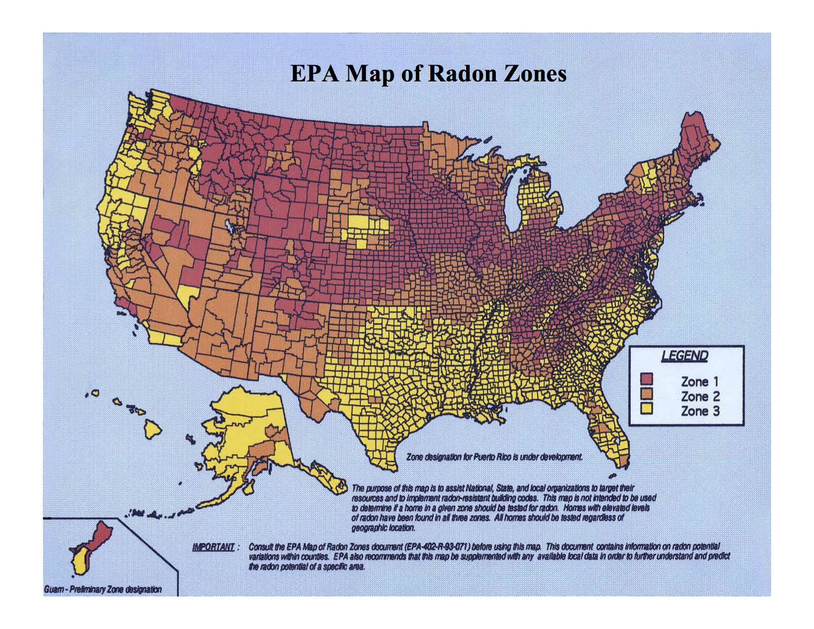 EPA Radon Zone Classifications
