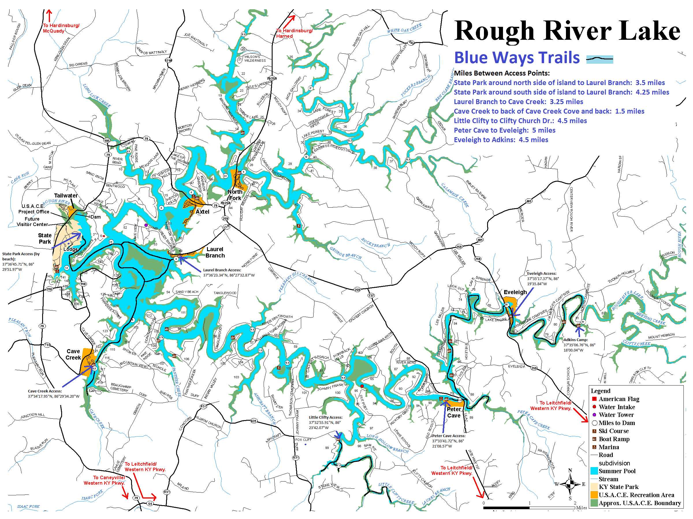 New Kayak Trail Map For Rough River Lake Greater Rough River Realty Group