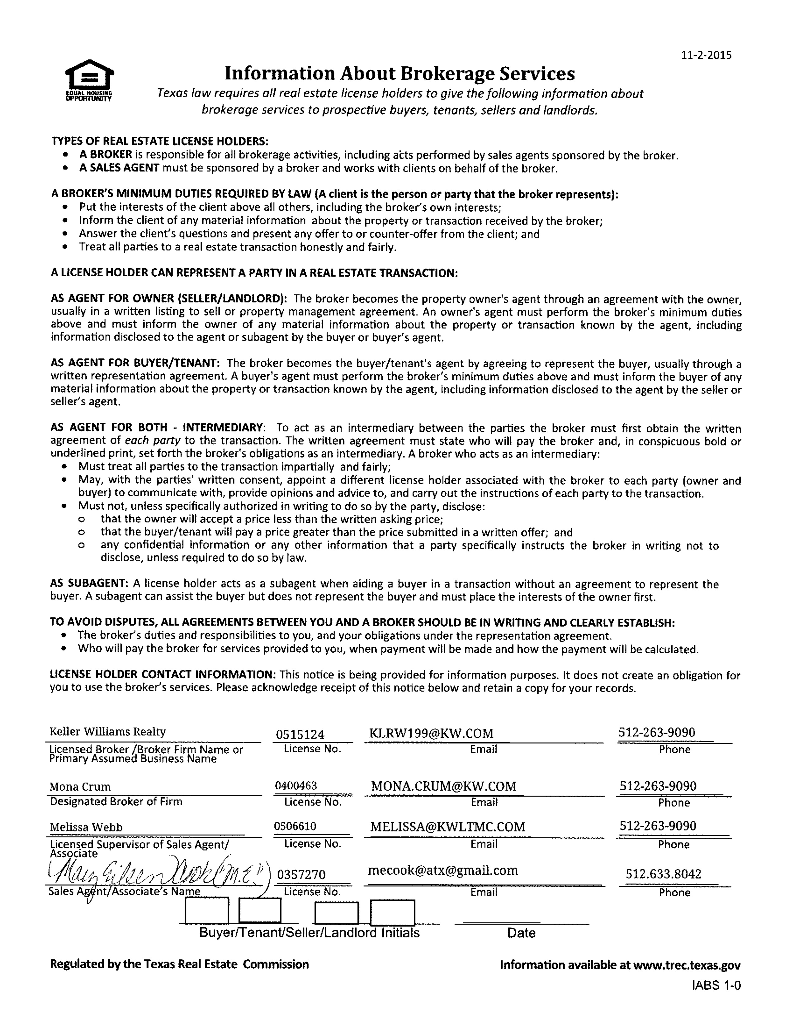 Texas Real Estate Commission Required Forms For Melanie Damron