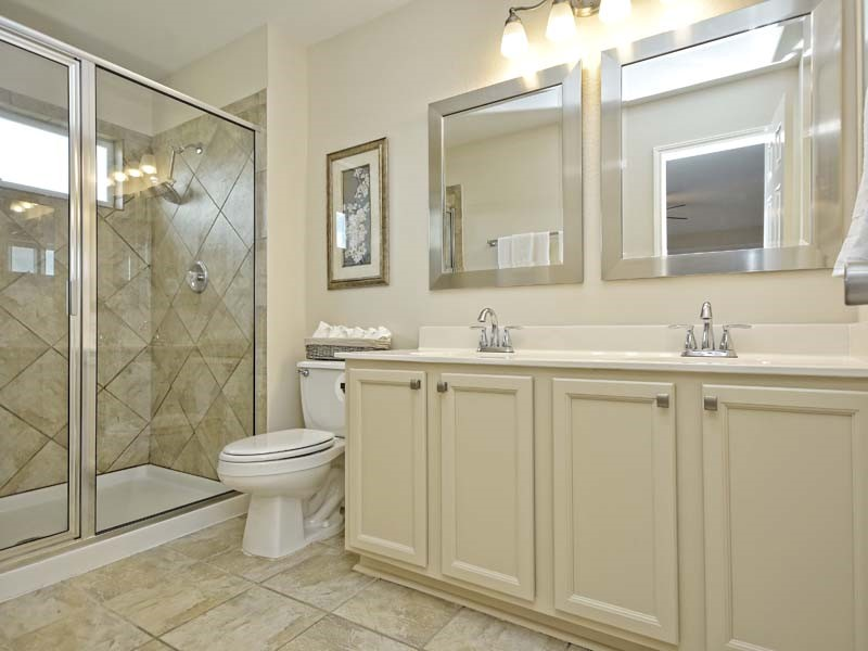 When We Purchased This Condo It Came With The U201cbeforeu201d Bathroom (photo 1):  Mint Green Walls, Builder Grade ...
