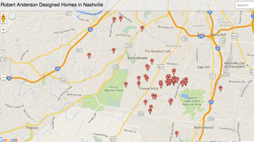 Map of known Robert Anderson designed homes.