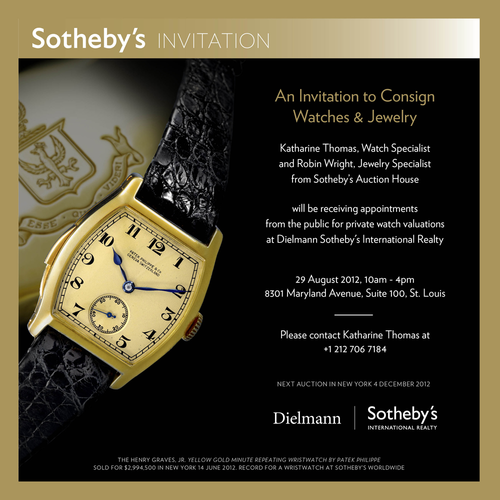 sotheby s auction house private invitation to consign watches