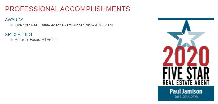 Four year of receipt of the 5-star award Paul Jamison