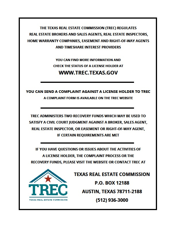 Texas Real Estate Commission Consumer Protection Notice Mitchell Realty Llc