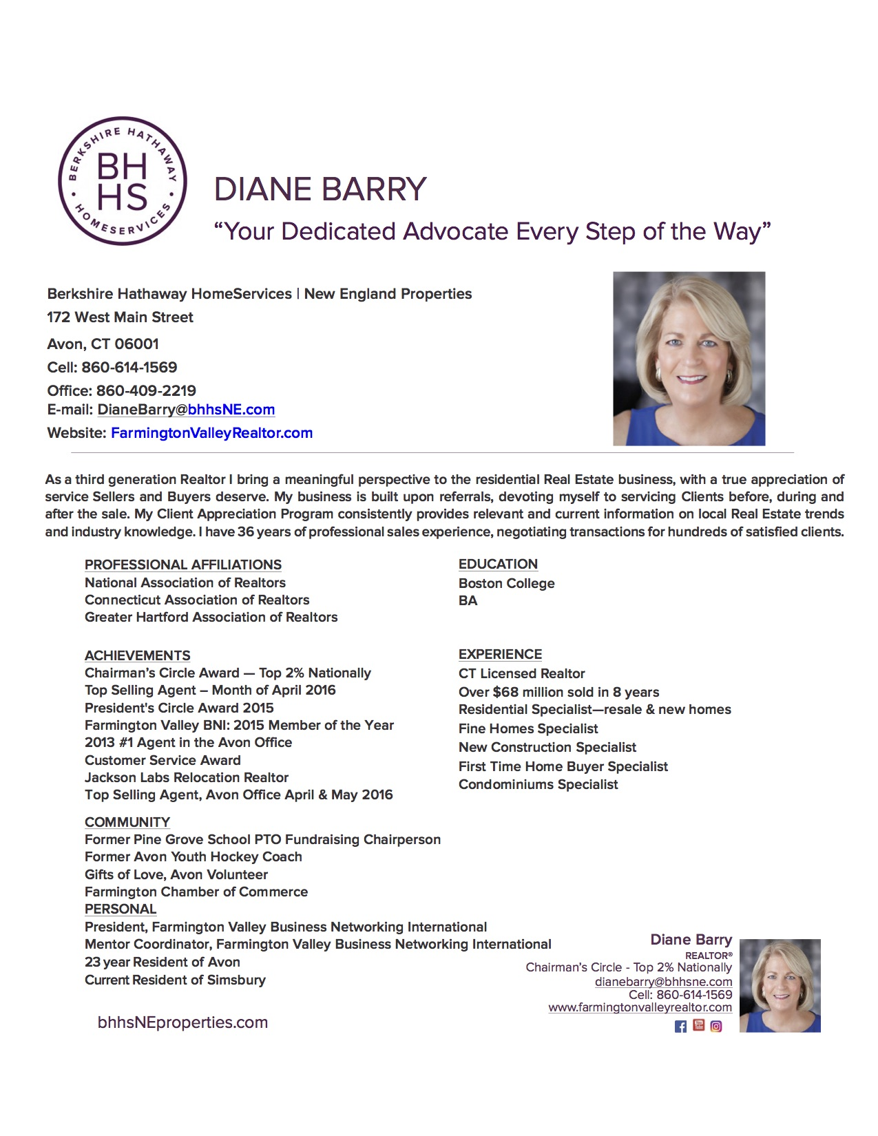 resume diane barry realtor