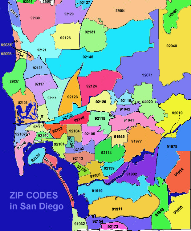 San Diego Zip Codes Map San Diego Real Estate Zipcodes San Diego Zip Codes Map