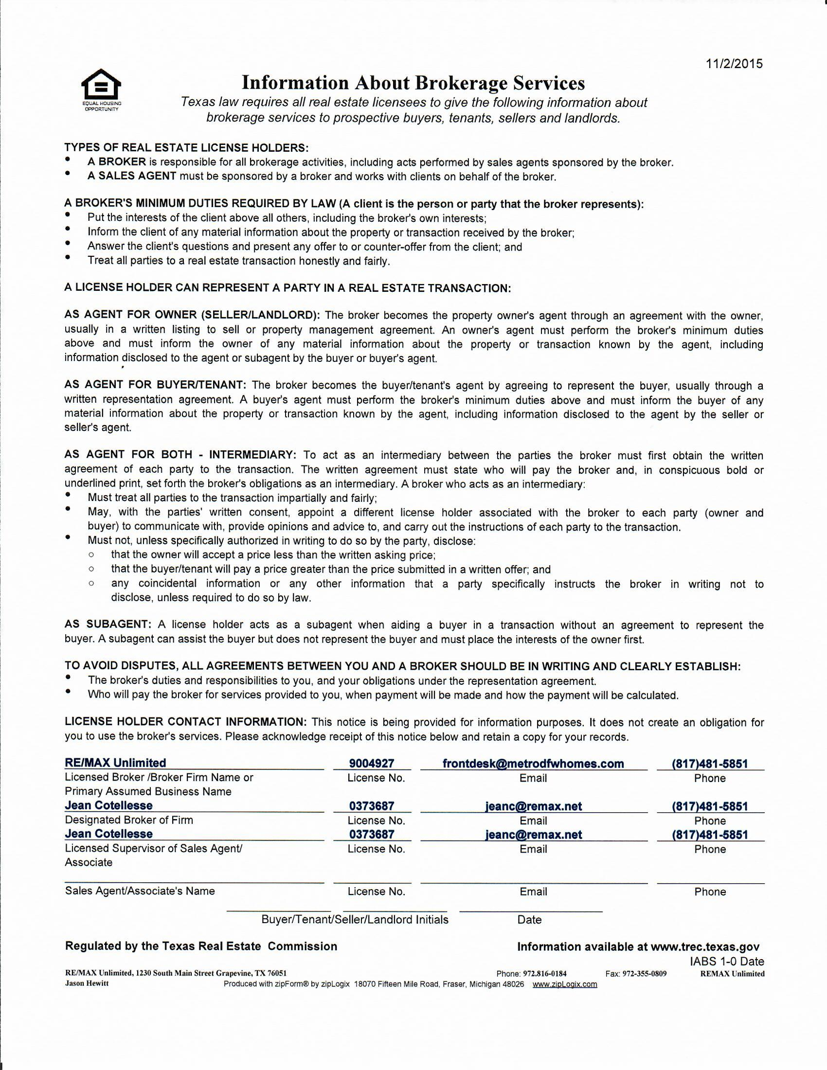 Trec Information About Brokerage Services Notice Remax