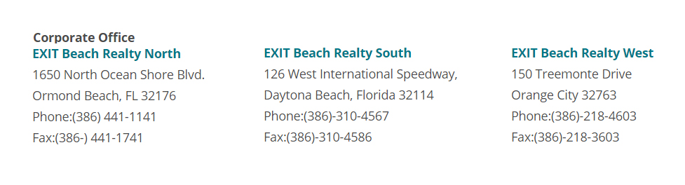 EXIT Beach Realty Office Locations