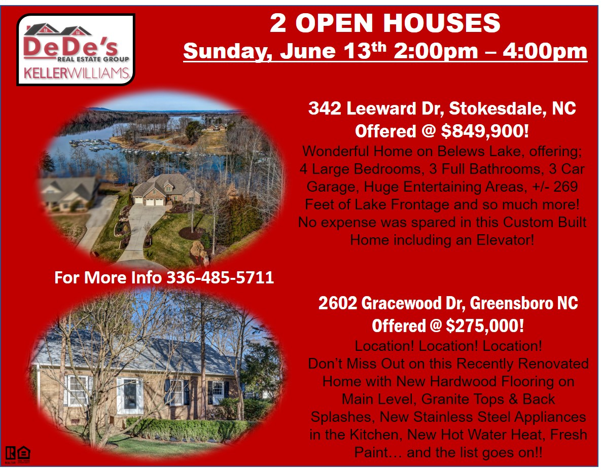 Visit these 2 OPEN HOUSES on Sunday, June 13th from 2:00 – 4:00!