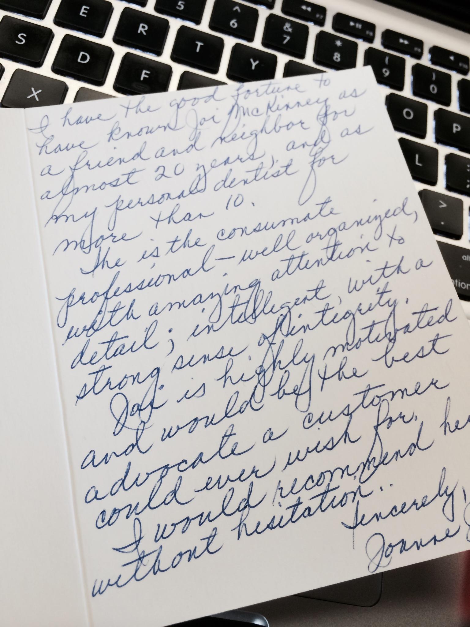 Letter from Joanne J.