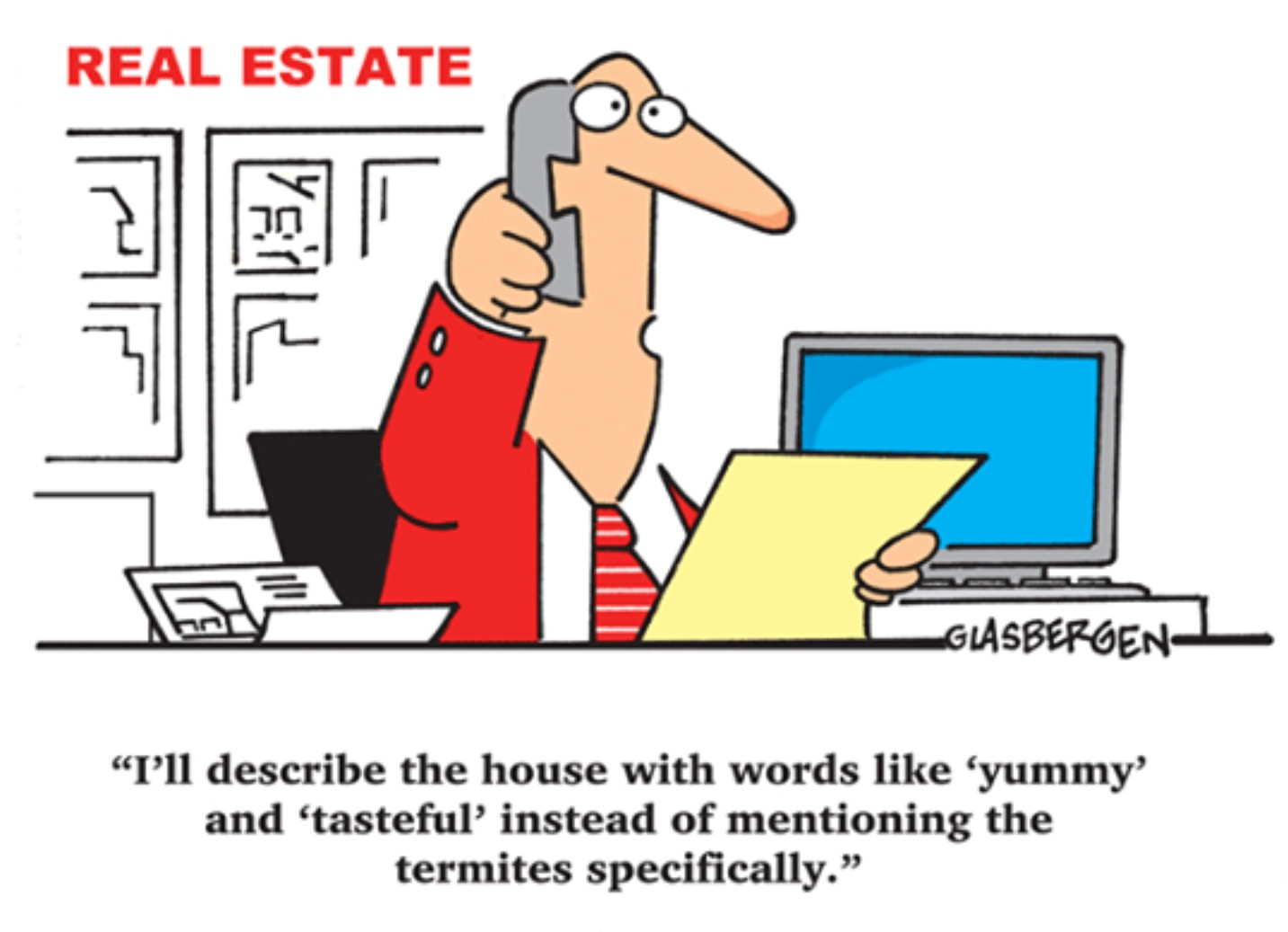 comic of realtor talking about termites