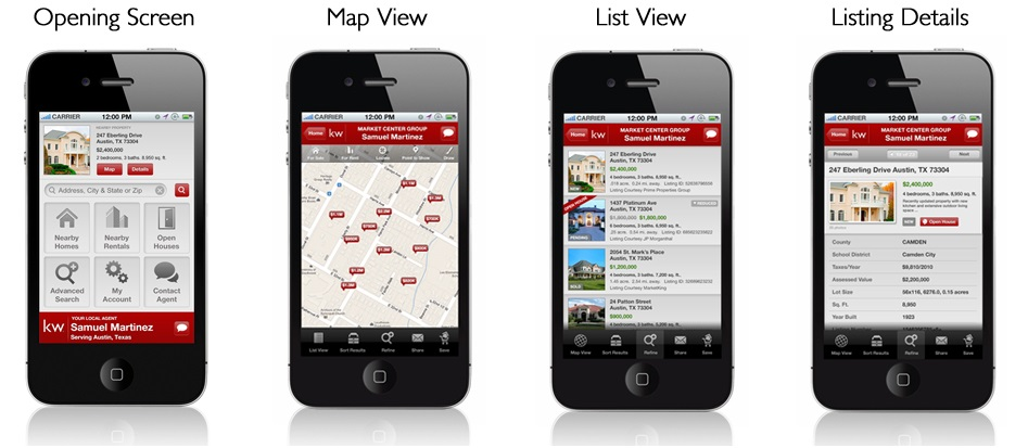 views of kw real estate app showing list view and map view